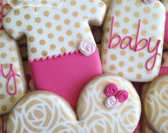 Baby Shower Baby Girl Pink White Gold Floral Cookies