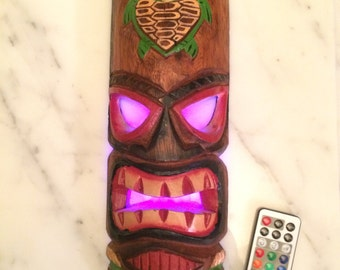 """12"""" Tiki Wooden Mask with added multi-color remote controlled LED."""