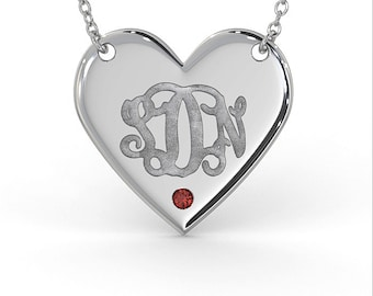 Monogram Heart Necklace with Birthstone in Sterling Silver (1.0mm Thick)