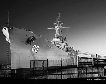 Art Print:USS Alabama,Photography Art Print,Vintage American Battleship,Mobile AL, Sunset, Battleship Alabama BB-60