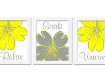 Popular items for yellow and grey bath on etsy for Bright yellow bathroom accessories