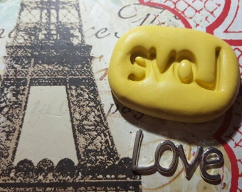 LOVE Word Flexible Silicone Mold -for polymer clay, resin, candy, wax, etc.