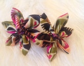 African Fabric Flower Studs