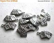 SALE 10 Silver Cards Charm - Poker Charm