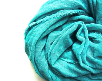 Aqua Scarf, Turquoise Scarf, Lightweight Cotton Gauze, Light Blue Scarf, Aqua Cotton Scarf, Hand Dyed, Turquoise Cotton Scarf, Boho Beach