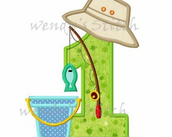 Fishing applique birthday number 1 machine embroidery design instant download