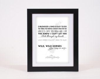 The Rolling Stones Wild Horses Classic Rock Lyrics Typography Poster Print