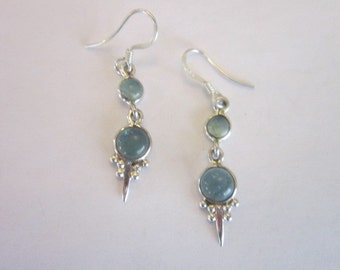 Vintage Sterling Silver & Apatite Stone Pierced Dangle Earrings