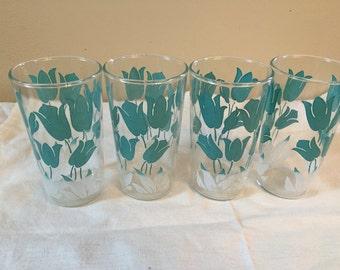 Vintage Turquoise Tulip Glasses (4)