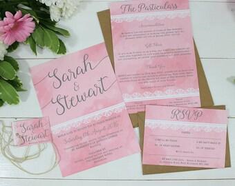 Watercolour Lace Wedding Invitations - Molly