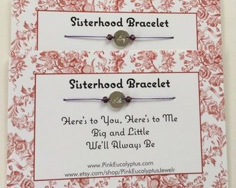 Big and Little Sorority Sisterhood Bracelets - 2 Bracelet Set, Free Shipping