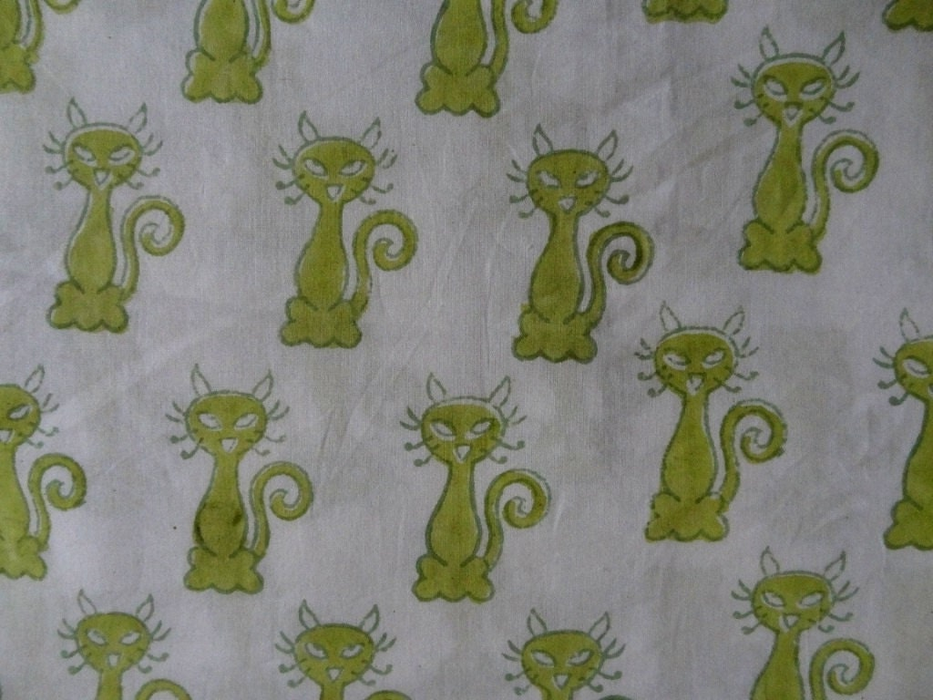 Cat print cotton fabric block print fabric kids clothing for Nursery print fabric