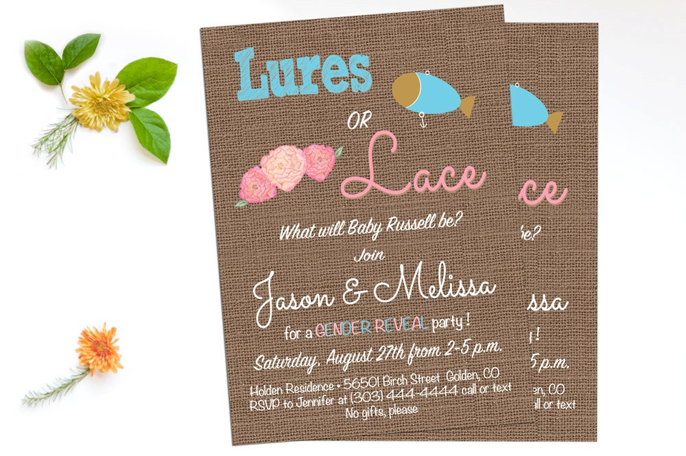 lures or lace gender reveal party invites coed baby shower invitation gender neutral