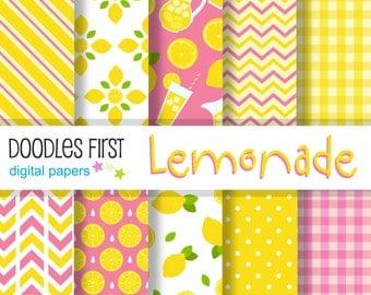 Lemonade Digital Paper Pack Includes 10 for Scrapbooking Paper Crafts