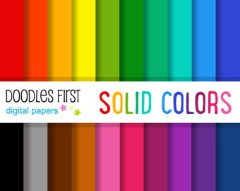 Solid Colors Digital Paper Pack Includes 10 for Scrapbooking Paper Crafts