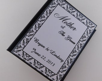 Mother of Groom Photo Album Gift Wedding Photo Album Engagement Anniversary Black Damask mom present holds 100 4x6 pictures 212