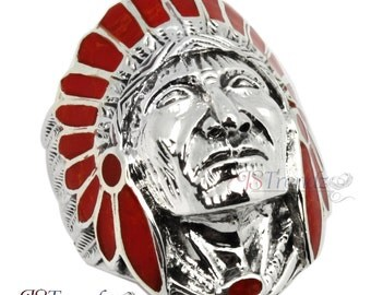 Mens Solid Sterling Silver Indian-Head-Chief Red Carnelian Ring Big