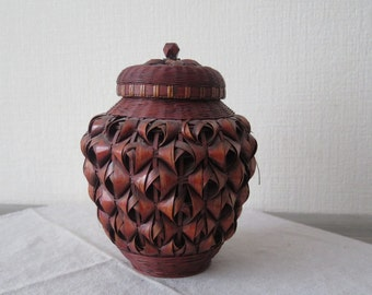 Vintage Woven Decorative Jar with Lid,  Wood Wicker Canister Farmhouse Cottage Chic Home Decor @130