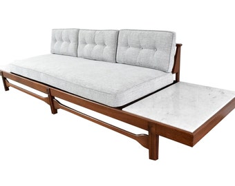 Mid Century Modern Pearsall Style Platform Sofa / Daybed - Vintage Sofa w/ Italian Marble End Tables - Newly Refinished