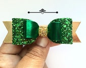 Girls Emerald Green and gold Christmas Glitter Hair Clip, hair clip, Girls christmas gifts, baby headband,holiday glitter bow,girls gift