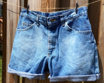 90s High-waisted, Cuffed and Bleached Upcycled Denim Shorts Size 6