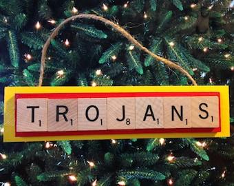 USC Trojans Scrabble Tiles Ornament Handmade Holiday Christmas Wood California