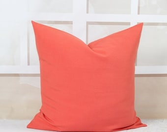 SALE Coral Pillow Decorative Throw Pillow Covers 20 x 20 Inches Accent Pillow Covers Solid Coral Pillows Sofa Pillows Beach Decor