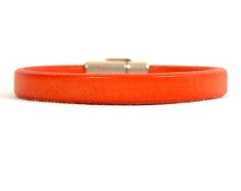 Leukemia Awareness Bracelet - Orange Low Profile Regaliz Leather Bracelet with Antique Silver Magnetic Clasp (R4-006)
