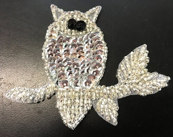 "Sale! Choice of Color Owl Applique, Sequin Beaded, 3.5"" x 2""  -Silver-7871-1231, Gold-7870-1231"