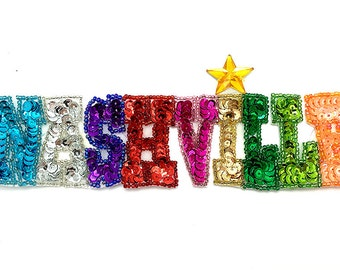 "Nashville Applique, Multi-Color Sequin Beaded, 7"" x 2""  -B010"