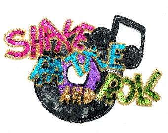 "Sale! 50's Rock Music Themed Applique, Sequin Beaded, 8"" x 6.5""  -B010-0448-0449"