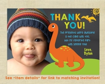 Dinosaur Thank You Card with Photo, Birthday, Personalized, Dino Thank You, Matching