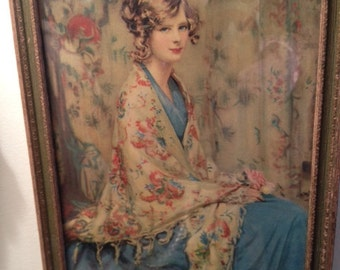 """Vintage Pic """"Lovely Lady"""", Framed, Approx 9"""" x 11"""",  Nice Colors"""