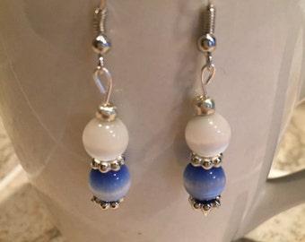 Handmade cat's eye bead earrings, dangle earrings, bue and white earrings, womens earrings