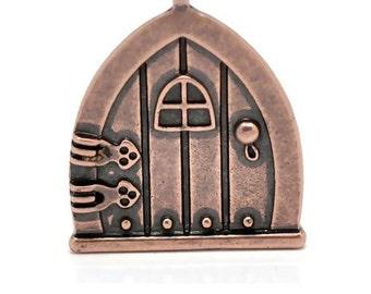 Copper Tone Fairy Wish Door Charm Pendant