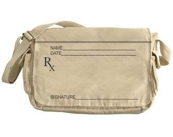 Prescription Pad© Messenger Bag. Write your own prescription! Fun gift for doctor, pharmacist,nurse, gag gift and more!