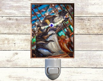 Newborn Night Light - Carousel 8 - New Orleans art -  Handmade - Copper Foiled - Childrens room - Nursery Art - Lighting -