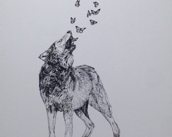 Wolf and Butterflies original drawing