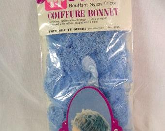 Vintage Nylon Tricot Bouffant Coiffure Bonnet, Tip Top Faberge Brand, Blue Sleeping Curl Nightcap Bonnet, Ruffle Lace Hair Bonnet, NOS, MIP
