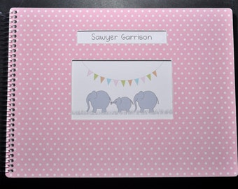 Personalized Baby Book, LGBT, Adoptive, Single, Straight, Lesbian, Gay, Same Sex Parents! Pink Dot Elephant Cover