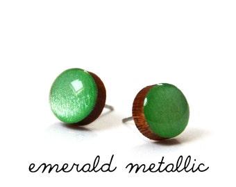 Emerald Metallic Solid Colour Stud Earring · Green Stud Earring · Paint + Resin Stud · 2 sizes 8mm & 10mm