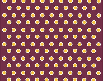 Maroon with yellow gold and white polka dots craft  vinyl sheet - HTV or Adhesive Vinyl -  polka dot pattern HTV266