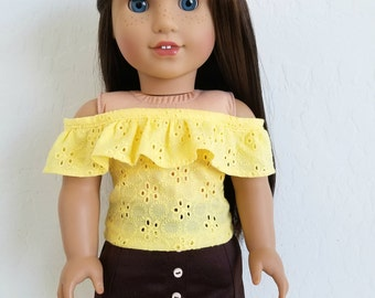 Yellow Eyelet Top and/or Button Front Skirt