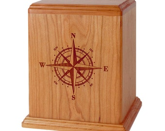 Natural Cherry Compass Rose Wood Cremation Urn