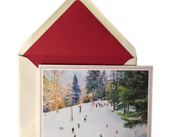 Let It Snow Christmas Cards Box of 8 w/ lined envelopes, Winter scene, Holiday, Greeting Cards, Heavyweight Card Stock, Original Art, 5X7