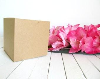 "Set of 100 - Kraft 4"" x 4"" x 4"" Gift Boxes - gift box, cupcake box, favor box, cupcake boxes, wedding favor boxes, cupcake inserts"