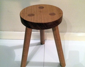 Hand Made Solid Oak 3 Legged Stool