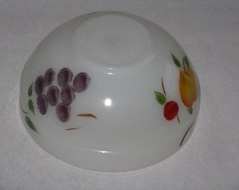 Vintage Fire King Gay Fad mixing bowl fruit painted glass