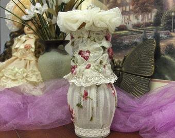 Shabby Chic Romantic YoYo Flower Bottle
