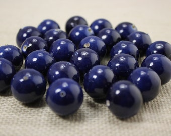 Vintage 19mm Paper Mache Dark Navy Blue Beads (14 Pieces)